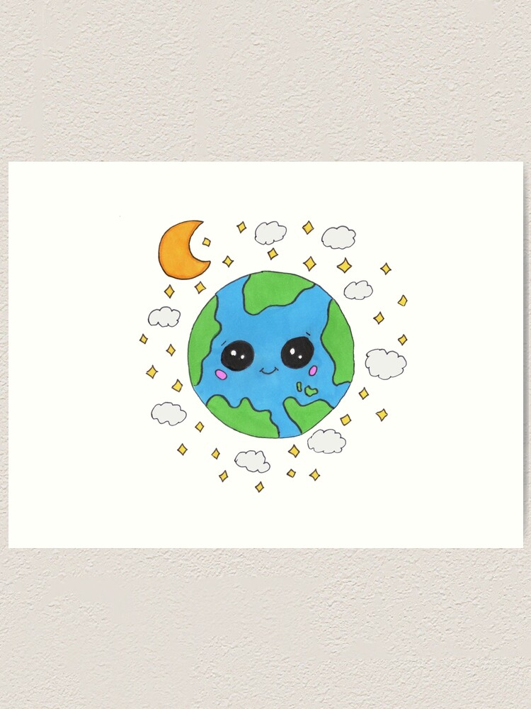 Cute Earth Cartoon : earth, cartoon, Cartoon, Planet, Earth