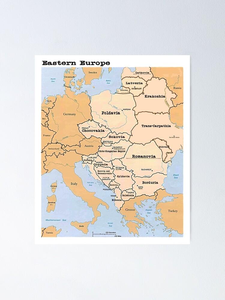 L Europe De L Est : europe, Poster, Carte, L'Europe, L'Est, 300Spikes, Redbubble