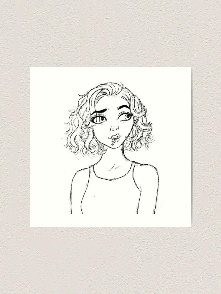 Short Hair Drawing : short, drawing, Cartoon, Short, Sketch