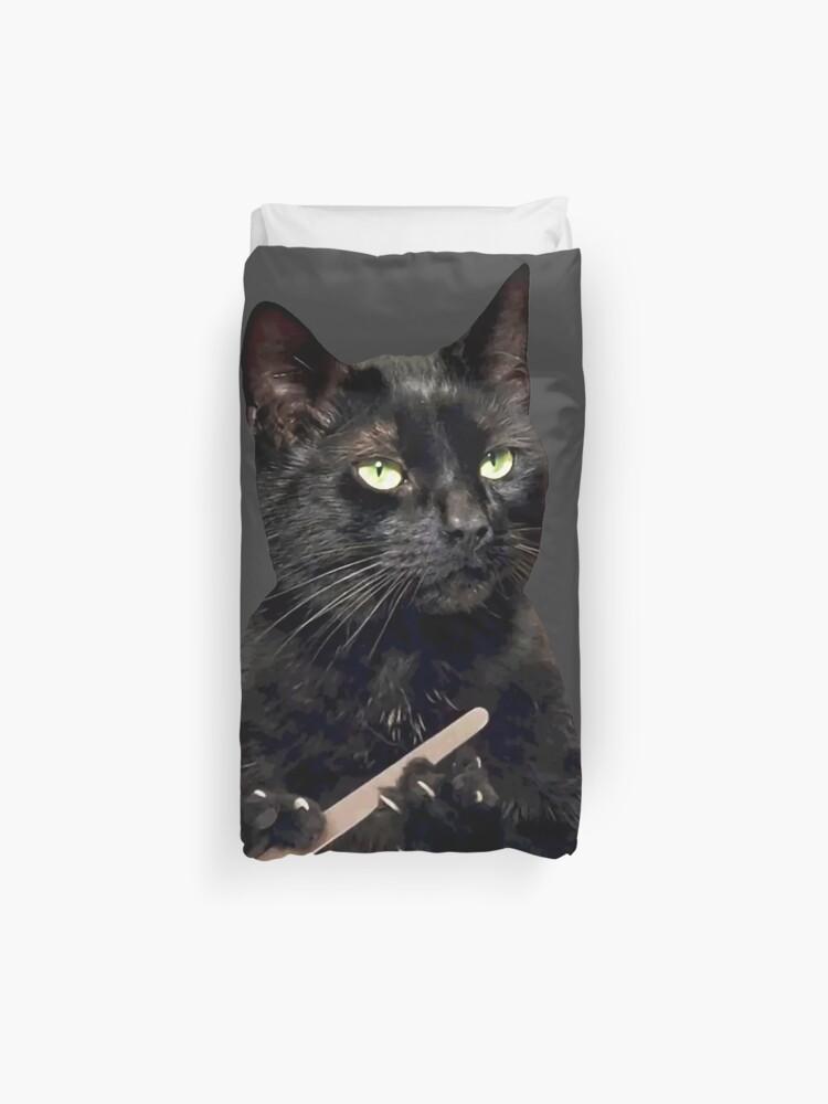Black Cat Filing Nails : black, filing, nails, Black, Filing, Nails, Duvet, Cover, Michaelroman, Redbubble