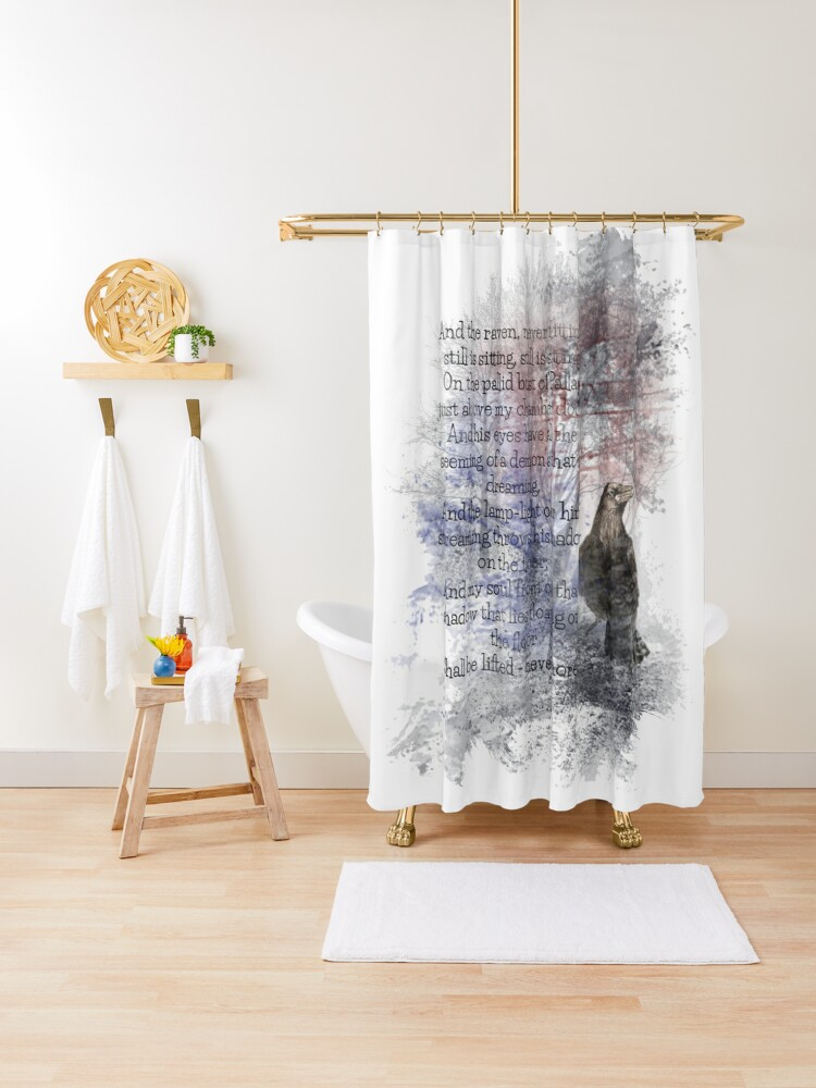 edgar allan poe poem the raven shower curtain by countrymouse redbubble