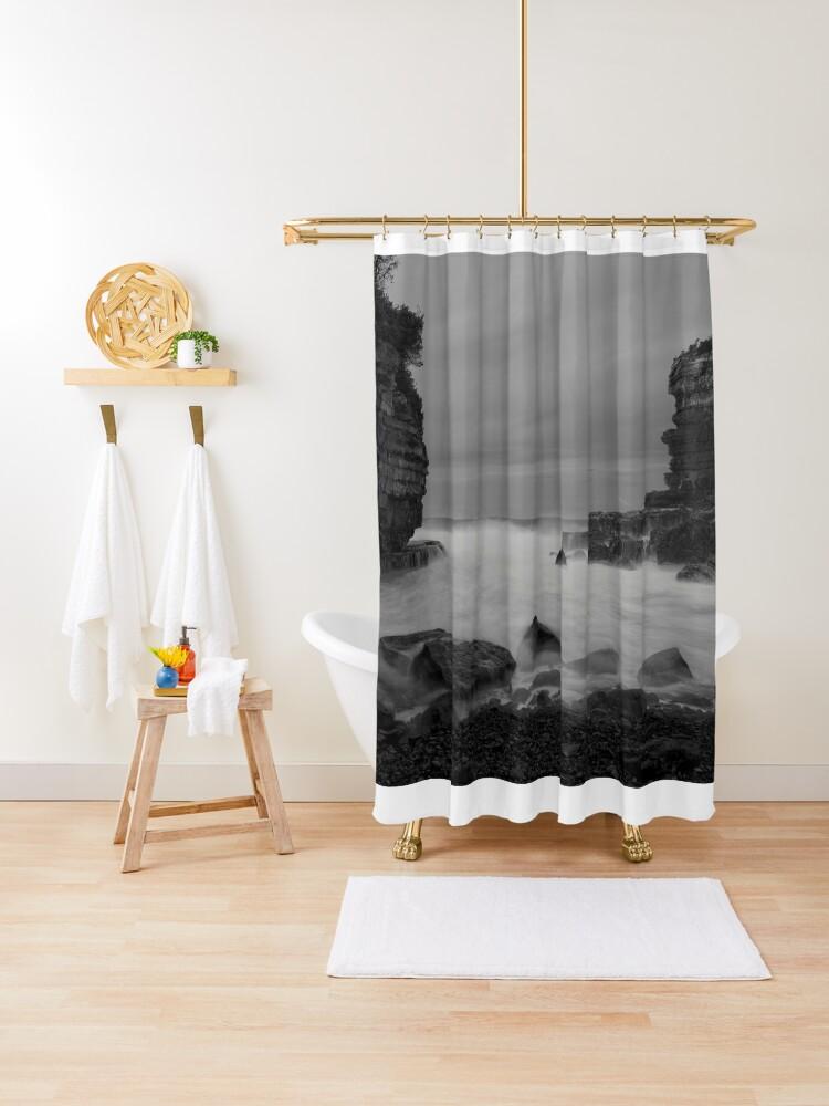 b w seascape shower curtain by studio777 redbubble