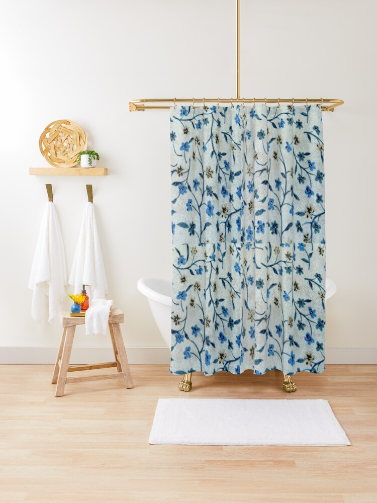 vintage blue brown fabric texture floral pattern shower curtain by kicksdesign redbubble
