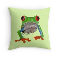 """Low poly frog"" Throw Pillows by Stefan Remijn 