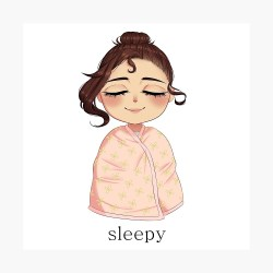Sleepy and Tired Chibi Anime Girl Poster by michiii arts Redbubble