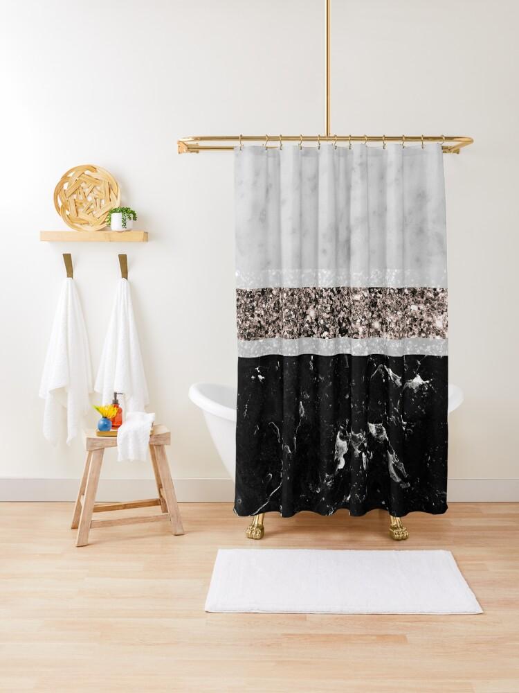white and black marble rose gold glitter stripe glam 1 minimal decor art shower curtain by anitabellajantz redbubble