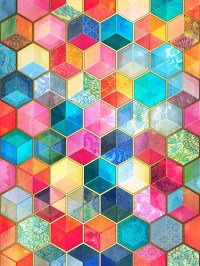 """Crystal Bohemian Honeycomb Cubes - colorful hexagon ..."