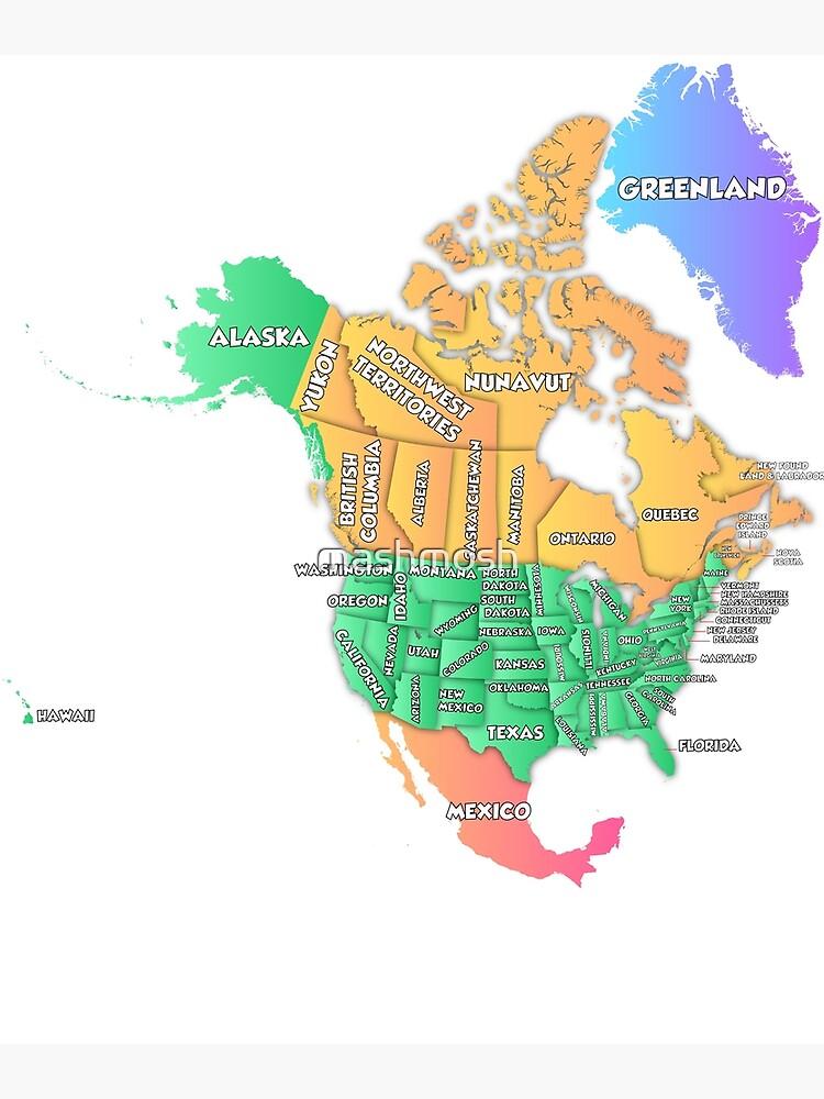 Etats Unis Carte Etats Et Capitales : etats, carte, capitales, Carte, Vœux, Politique, L'Amérique, Etats-Unis, Canada, Mashmosh, Redbubble