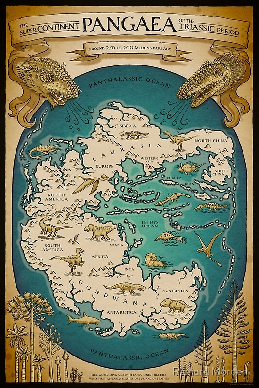Map Of The Supercontinent Pangaea Posters By Richard