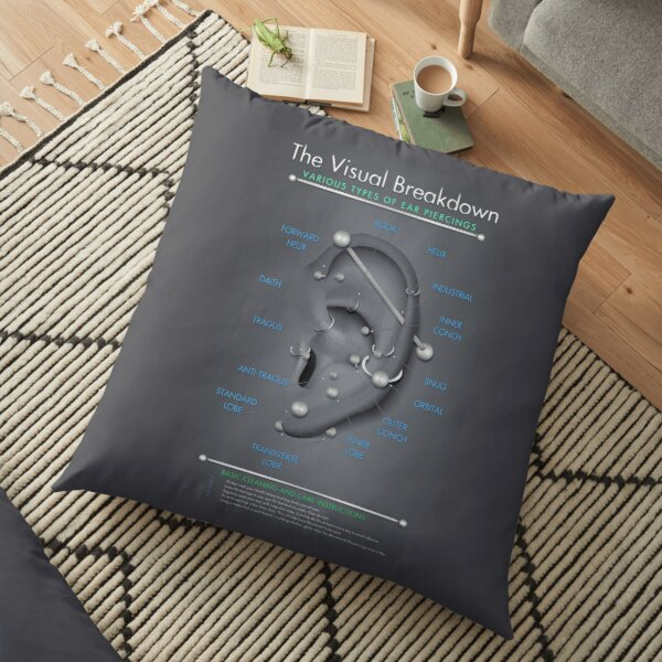 ear piercing chart black and gray floor pillow by jarrod44 redbubble