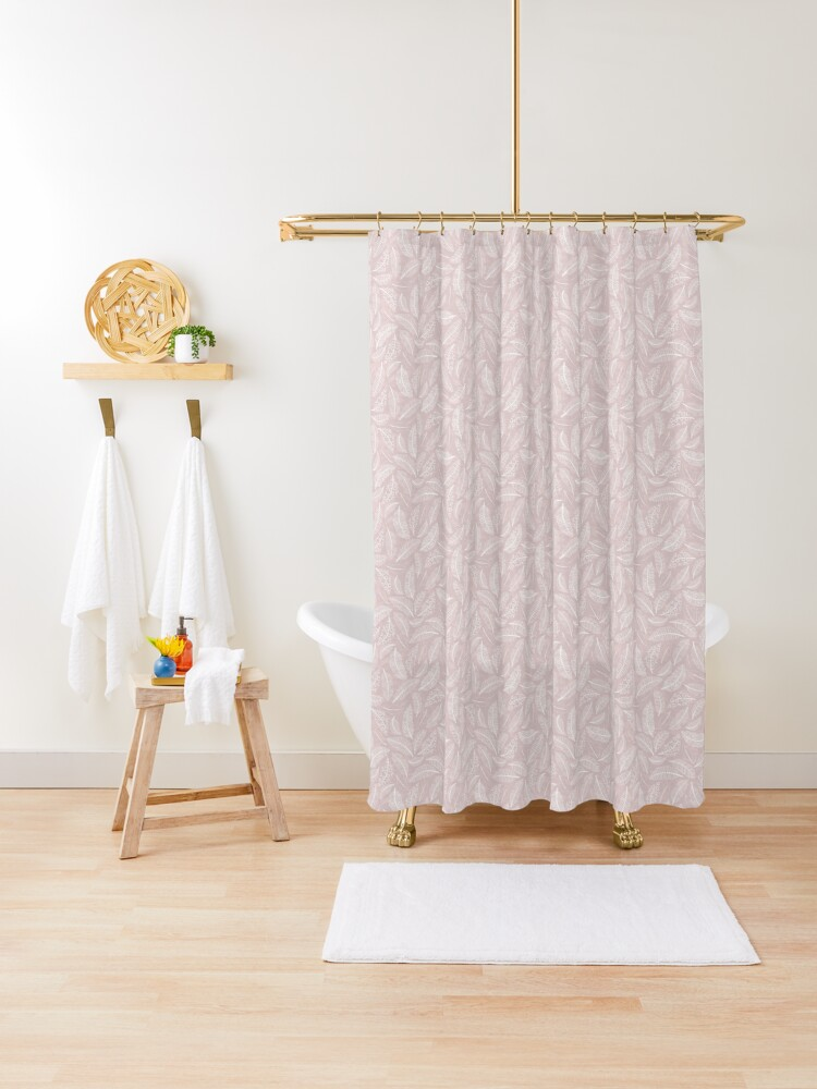 boho feathers pale mauve shower curtain by jenuinedesigns redbubble