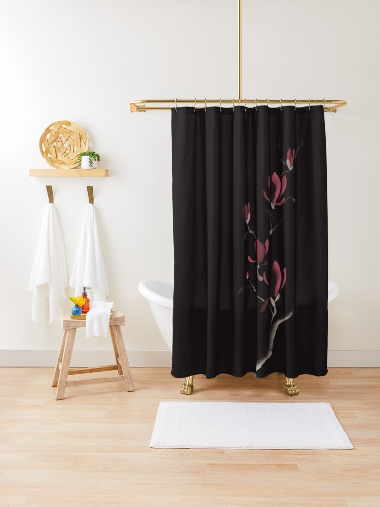 exquisite dark sumi e design of magnolia branch with large pink flowers on black art print shower curtain by awenartprints redbubble
