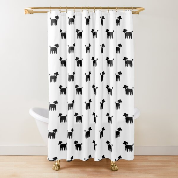 black poodle s shower curtain by shortcoffee redbubble