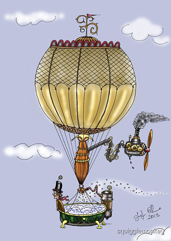 """STEAMPUNK HOT AIR BALLOON"" By Squigglemonkey Redbubble"