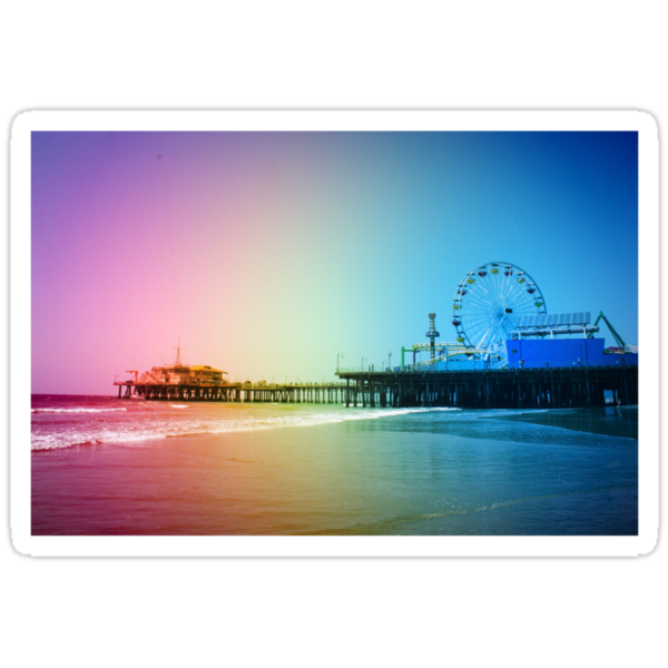 Santa Monica Pier Rainbow Colors Stickers on Redbubble by Christine aka stine1