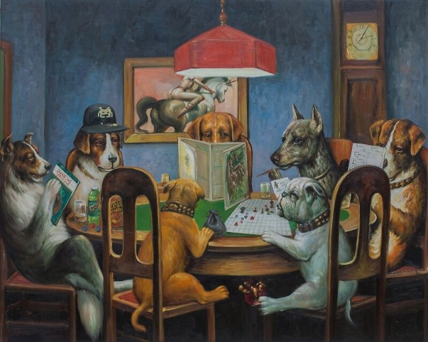 Dogs Playing D&D painting for sale on Redbubble.net.