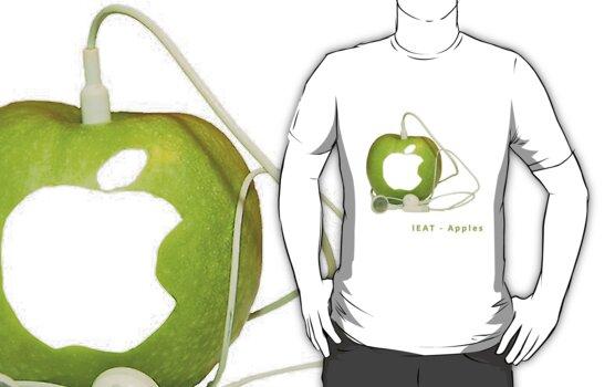 iEat, iPod, Apple, music, mp3, itunes, iPad, shirt, design, earphones, green, white