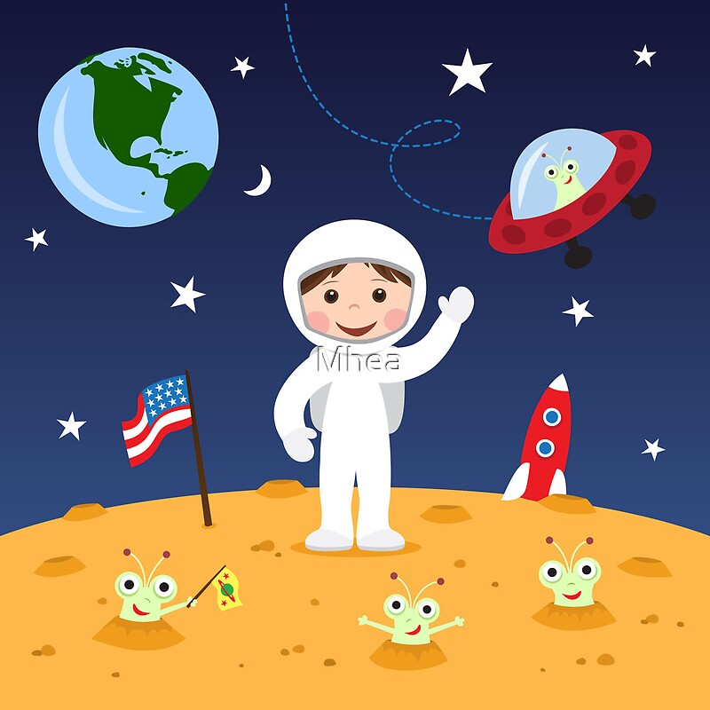 Falling Astronaut Iphone Wallpaper Quot Friends In Space Cute Cartoon Wall Art With Boy Astronaut