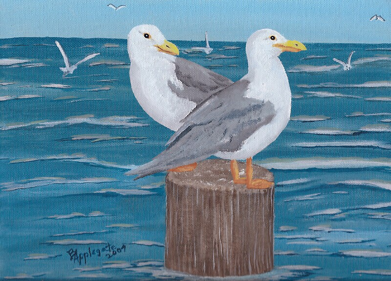 Seagulls Oil Painting By Barbara Applegate Redbubble