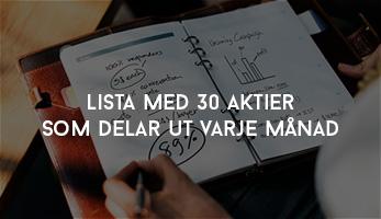Lista med 30 Aktier som delar ut varje månad