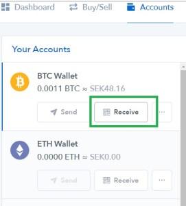 steg 4 ta emot bitcoin