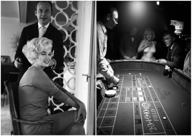 Мэрилин и ее парикмахер (слева). Реакция Монро на выигрыш в казино (справа).