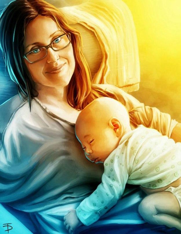 художники перерисовали фотографии ребенка
