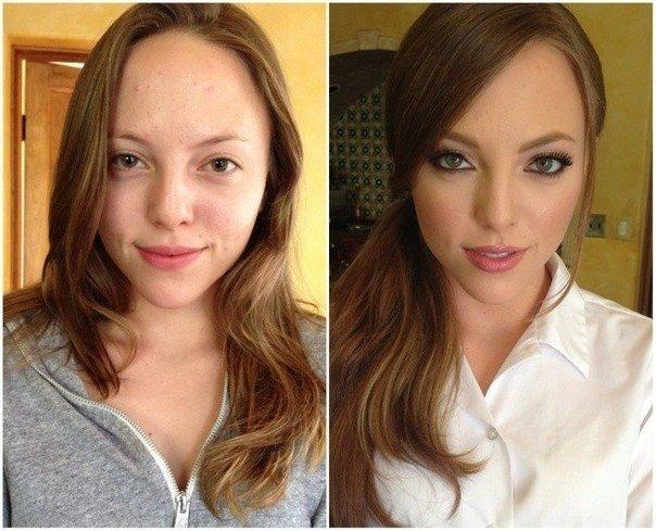 изменение лица после макияжа