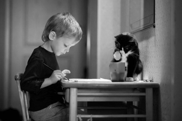 ребенок и котик