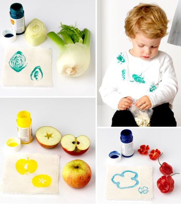 рисуем овощами и фруктами