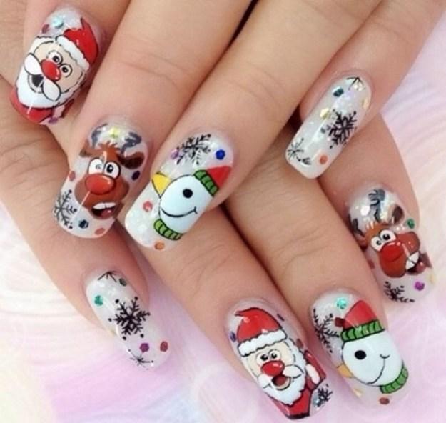 Маникюры с Дедом морозом и снеговиками