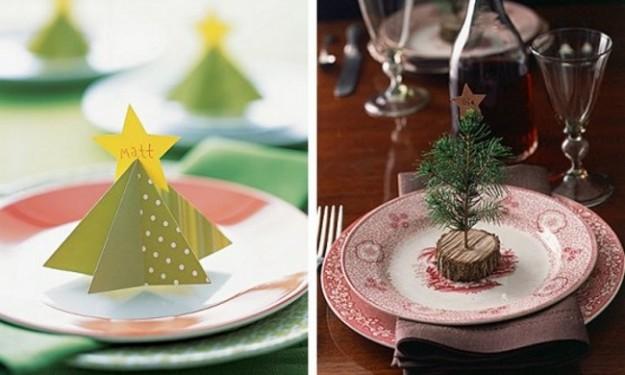 Поставьте гостям на тарелки маленькие елочки