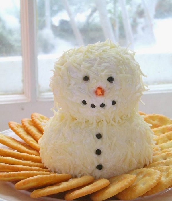 Снеговик из салата Белочка