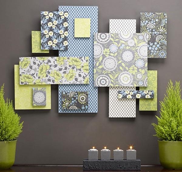 рКрышки от коробок + декоративная думага = оригинальное панно на стену