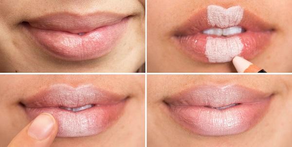 Если вы любите блески для губ, попробуйте добавлять в центр губ светлый блик. Так губы будут казаться объемнее