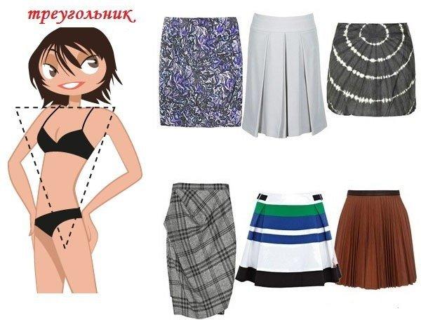 Тип фигуры перевернутый треугольник. Для такого типа фигуры лучше всего подойдут прямые юбки, юбки в складку, плиссированные юбка, юбка-брюки. Этот тип фигуры может надевать юбки с принтами