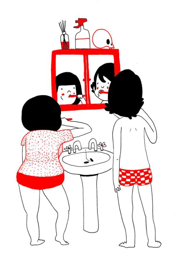 ...вместе чистить зубы