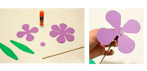 Для одного цветка вам понадобятся такие заготовки, какие вы видите на фото. Попробуйте нарисовать примерно такие же, как у нам, вырежьте. В меньший цветочек вставьте проволоку, загните ее конец