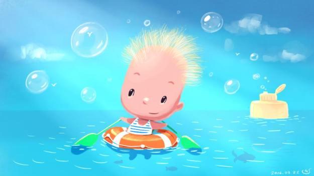 маня плавает