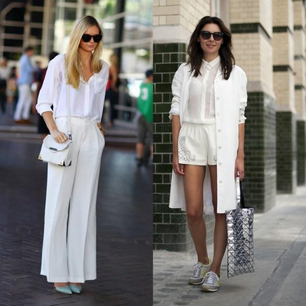Белые вещи идеально смотрятся как с классической обувью, так и со спортивной