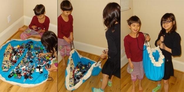 Коврик-мешок для игрушек. Где поиграли - там и собрали
