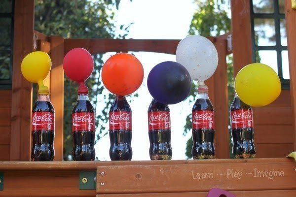 Попробуйте провести эксперемент с колой, воздушными шарами и мятной конфетой