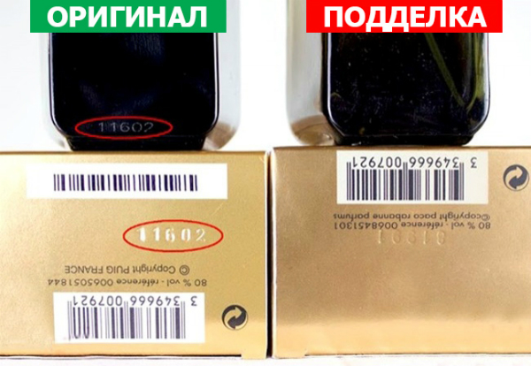 Серийные номера на флаконе и на коробке должны совпадать. При этом они должны быть нанесенными, а не бумажные и посаженные на клей