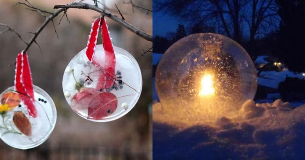 Чем занять ребенка зимой: ледяной шар и фонарь
