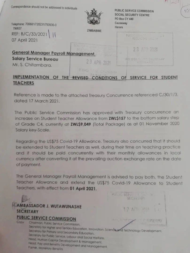 Zimbabwe Student Teachers Celebrate As Allowances Raised From US$1.50 To US$90