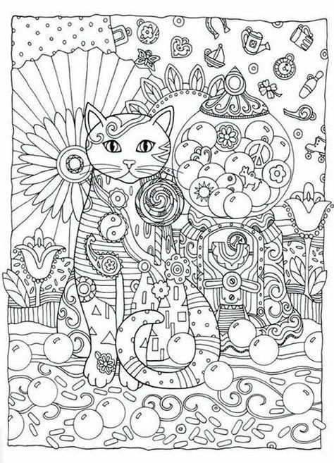 Антистресс раскраски фантастическая кошка