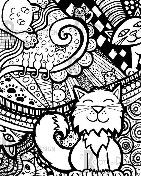 Антидепрессия раскраски Кошки