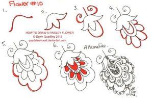 Зентангл узор цветы пошагам