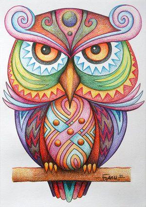 Раскрашенные раскраски сова