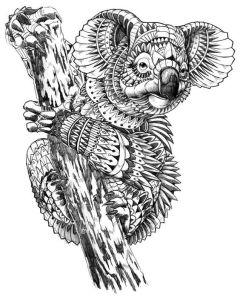 раскраска антистресс сложная коала